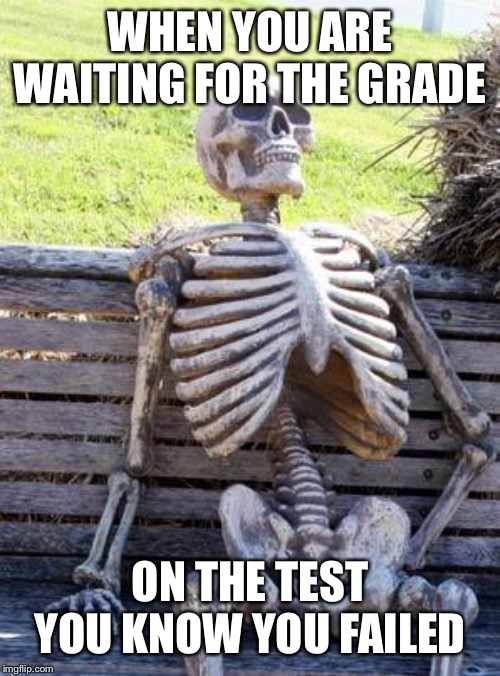 Waiting Skeleton Meme | WHEN YOU ARE WAITING FOR THE GRADE ON THE TEST YOU KNOW YOU FAILED | image tagged in memes,waiting skeleton | made w/ Imgflip meme maker