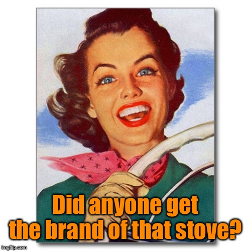 Vintage '50s woman driver | Did anyone get the brand of that stove? | image tagged in vintage '50s woman driver | made w/ Imgflip meme maker