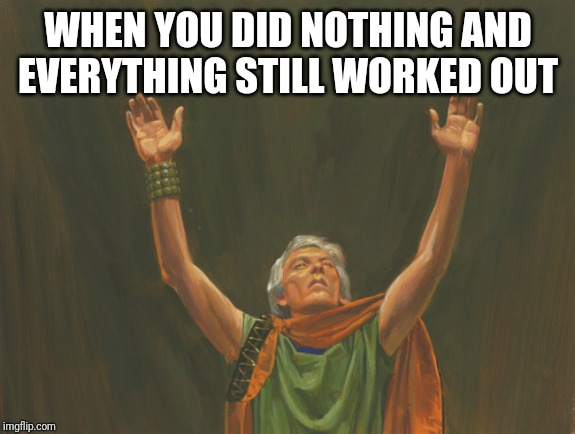 I'm a god | WHEN YOU DID NOTHING AND EVERYTHING STILL WORKED OUT | image tagged in stupid,lazy | made w/ Imgflip meme maker
