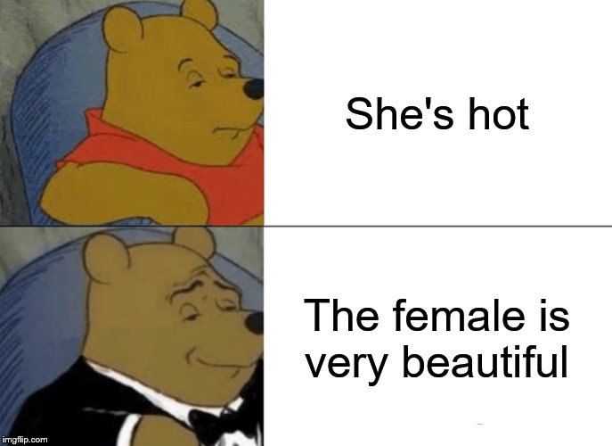 Tuxedo Winnie The Pooh Meme | She's hot The female is very beautiful | image tagged in memes,tuxedo winnie the pooh | made w/ Imgflip meme maker