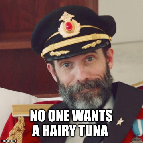 Captain Obvious | NO ONE WANTS A HAIRY TUNA | image tagged in captain obvious | made w/ Imgflip meme maker