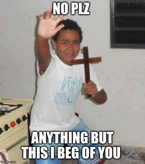 kid with cross | NO PLZ ANYTHING BUT THIS I BEG OF YOU | image tagged in kid with cross | made w/ Imgflip meme maker