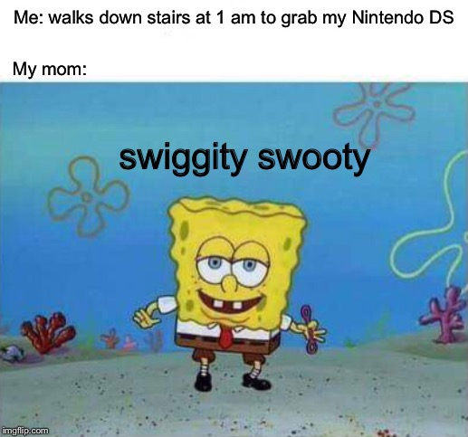 True story |  Me: walks down stairs at 1 am to grab my Nintendo DS; My mom:; swiggity swooty | image tagged in spongebob,swiggity swooty,oh yeah | made w/ Imgflip meme maker