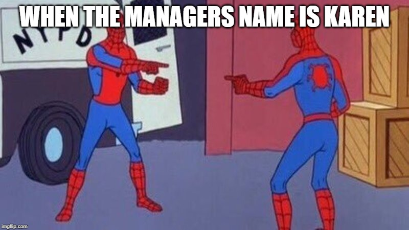 spiderman pointing at spiderman | WHEN THE MANAGERS NAME IS KAREN | image tagged in spiderman pointing at spiderman | made w/ Imgflip meme maker