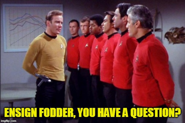 Captain Kirk Addresses the Red Shirts | ENSIGN FODDER, YOU HAVE A QUESTION? | image tagged in star trek red shirts,red shirts,star trek,captain kirk | made w/ Imgflip meme maker