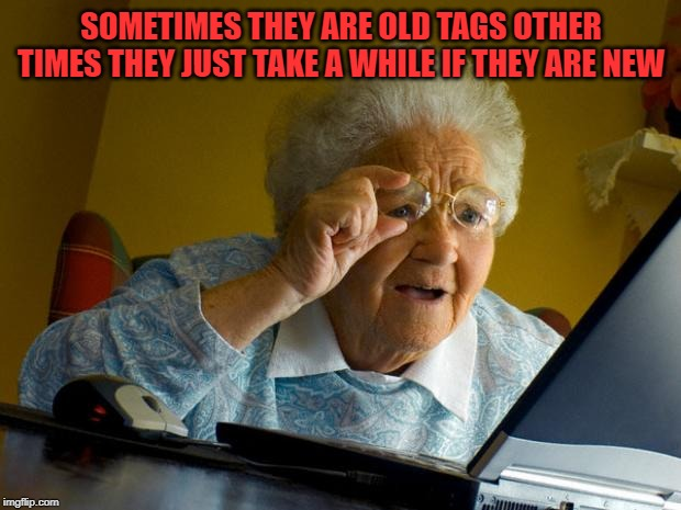 Old lady at computer finds the Internet | SOMETIMES THEY ARE OLD TAGS OTHER TIMES THEY JUST TAKE A WHILE IF THEY ARE NEW | image tagged in old lady at computer finds the internet | made w/ Imgflip meme maker