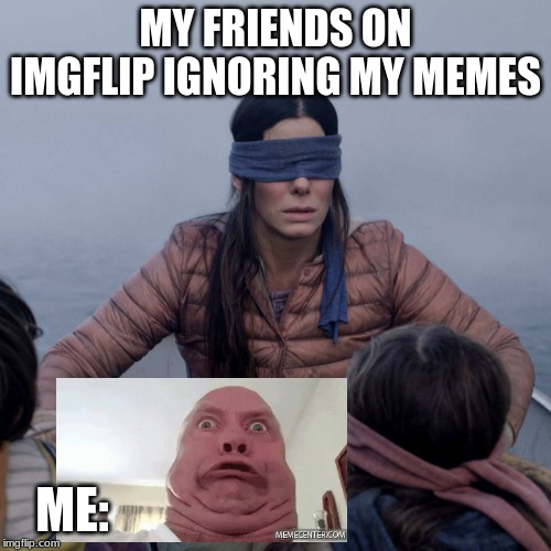 Bird Box | MY FRIENDS ON IMGFLIP IGNORING MY MEMES ME: | image tagged in memes,bird box | made w/ Imgflip meme maker