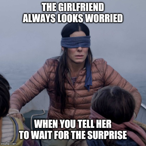 Surprising that special lady | THE GIRLFRIEND ALWAYS LOOKS WORRIED WHEN YOU TELL HER TO WAIT FOR THE SURPRISE | image tagged in memes,bird box,surprise,girlfriend,blindfold,blind | made w/ Imgflip meme maker