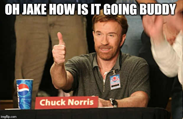Chuck Norris Approves Meme | OH JAKE HOW IS IT GOING BUDDY | image tagged in memes,chuck norris approves,chuck norris | made w/ Imgflip meme maker