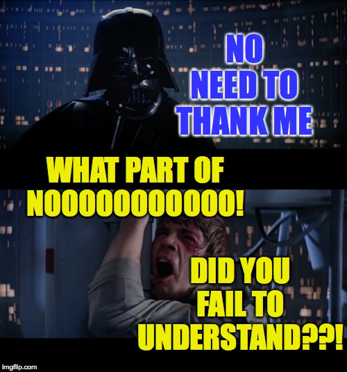 Star Wars No Meme | NO NEED TO THANK ME WHAT PART OF NOOOOOOOOOOO! DID YOU FAIL TO UNDERSTAND??! | image tagged in memes,star wars no | made w/ Imgflip meme maker