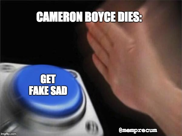 Blank Nut Button Meme | CAMERON BOYCE DIES: GET FAKE SAD @memprecum | image tagged in memes,blank nut button | made w/ Imgflip meme maker