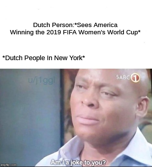 Congratulations to USA For Winning France 2019 | Dutch Person:*Sees America Winning the 2019 FIFA Women's World Cup* *Dutch People In New York* | image tagged in am i a joke to you,fifa,netherlands,america,world cup,memes | made w/ Imgflip meme maker