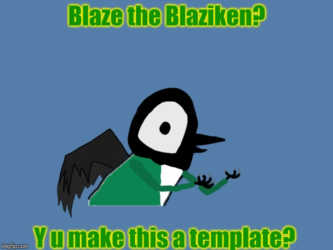 Blaze the Blaziken? Y u make this a template? | image tagged in y u no pied wagtail | made w/ Imgflip meme maker