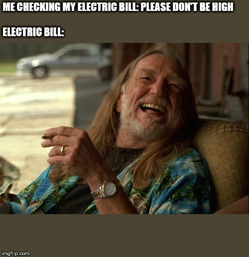 ME CHECKING MY ELECTRIC BILL: PLEASE DON'T BE HIGH    ELECTRIC BILL: | image tagged in willie nelson died | made w/ Imgflip meme maker