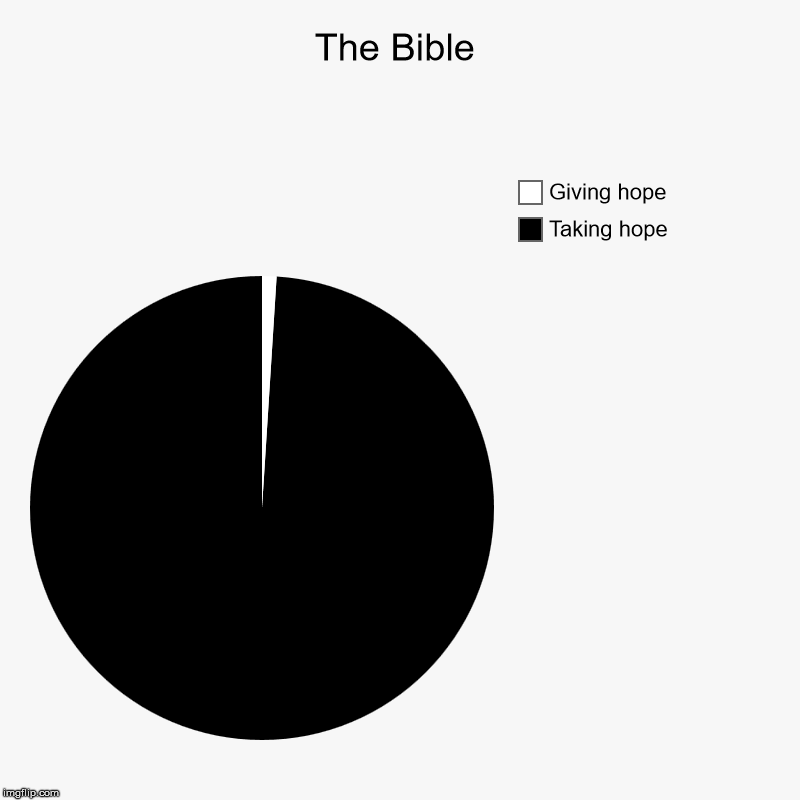 The Bible | Taking hope, Giving hope | image tagged in charts,pie charts,the bible,god,leadership,hope | made w/ Imgflip chart maker