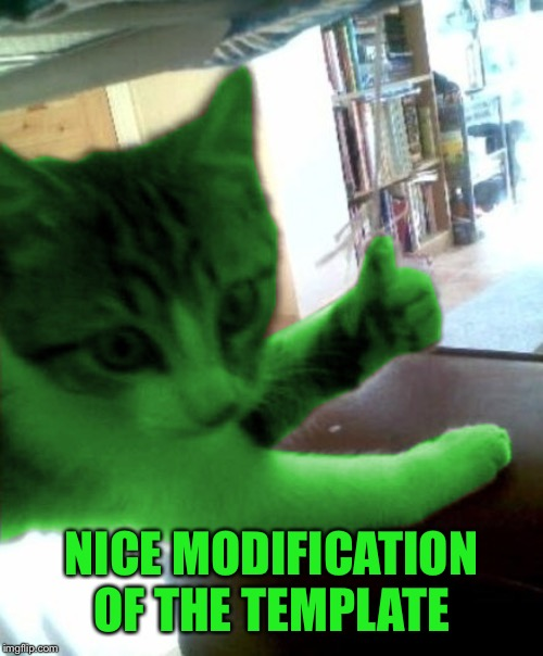thumbs up RayCat | NICE MODIFICATION OF THE TEMPLATE | image tagged in thumbs up raycat | made w/ Imgflip meme maker