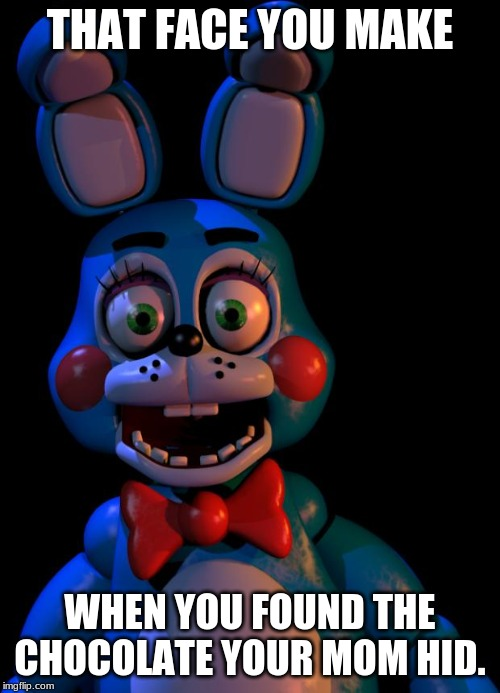 That face you make | THAT FACE YOU MAKE WHEN YOU FOUND THE CHOCOLATE YOUR MOM HID. | image tagged in memes,fnaf2 | made w/ Imgflip meme maker