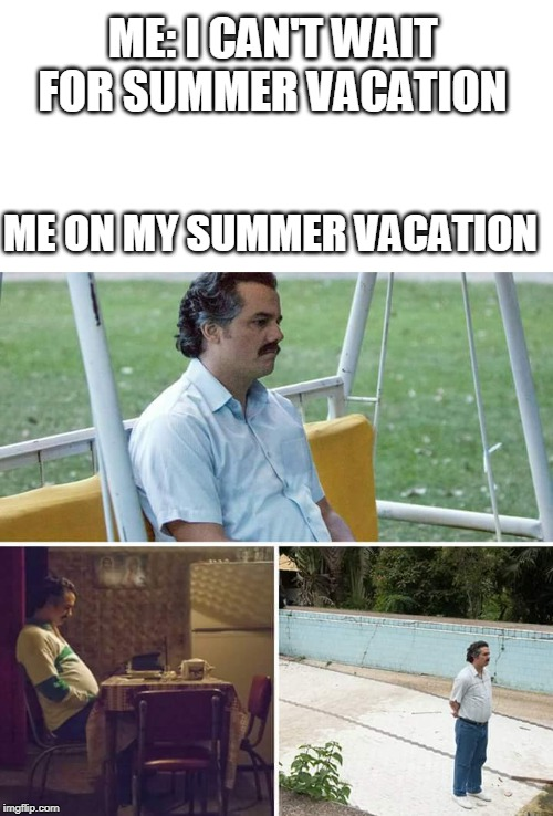 sad pablo escobar | ME: I CAN'T WAIT FOR SUMMER VACATION ME ON MY SUMMER VACATION | image tagged in sad pablo escobar | made w/ Imgflip meme maker