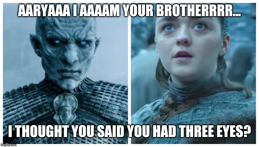 AARYAAA I AAAAM YOUR BROTHERRRR... I THOUGHT YOU SAID YOU HAD THREE EYES? | image tagged in night king arya | made w/ Imgflip meme maker