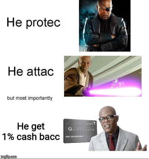 ...on any purchase, anywhere | He get 1% cash bacc | image tagged in he protecc,samuel l jackson | made w/ Imgflip meme maker