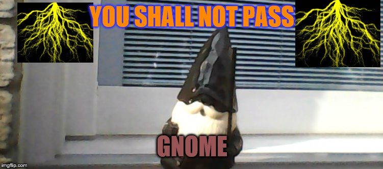 YOU SHALL NOT PASS; GNOME | image tagged in gnome | made w/ Imgflip meme maker