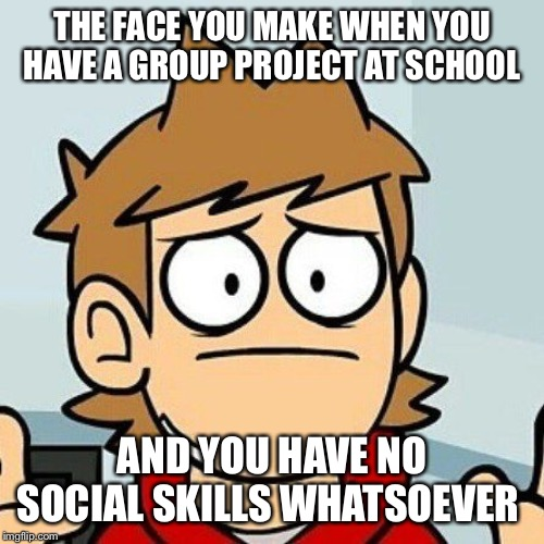 Eddsworld | THE FACE YOU MAKE WHEN YOU HAVE A GROUP PROJECT AT SCHOOL AND YOU HAVE NO SOCIAL SKILLS WHATSOEVER | image tagged in eddsworld | made w/ Imgflip meme maker