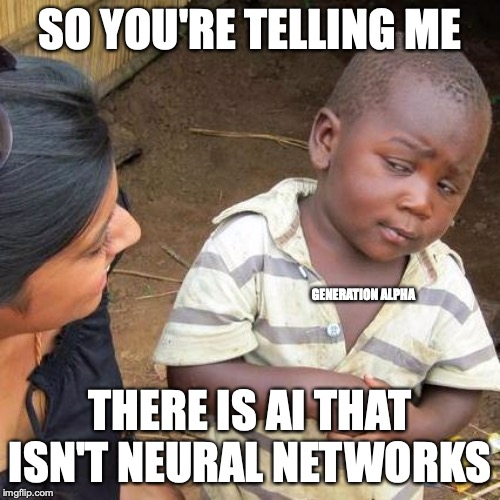 Third World Skeptical Kid Meme | SO YOU'RE TELLING ME THERE IS AI THAT ISN'T NEURAL NETWORKS GENERATION ALPHA | image tagged in memes,third world skeptical kid | made w/ Imgflip meme maker