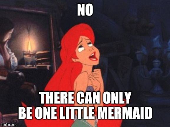 Ariel | NO THERE CAN ONLY BE ONE LITTLE MERMAID | image tagged in ariel | made w/ Imgflip meme maker
