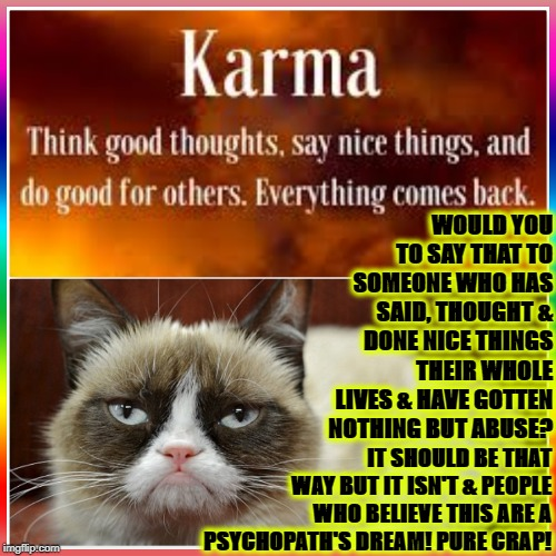 GRUMPY VS KARMA | WOULD YOU TO SAY THAT TO SOMEONE WHO HAS SAID, THOUGHT & DONE NICE THINGS THEIR WHOLE LIVES & HAVE GOTTEN NOTHING BUT ABUSE? IT SHOULD BE TH | image tagged in grumpy vs karma | made w/ Imgflip meme maker