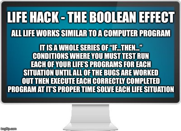 "Life Hack - The Boolean Effect | LIFE HACK - THE BOOLEAN EFFECT IT IS A WHOLE SERIES OF ""IF...THEN..."" CONDITIONS WHERE YOU MUST TEST RUN EACH OF YOUR LIFE'S PROGRAMS FOR EA 