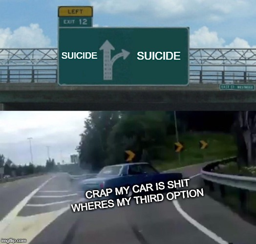 Left Exit 12 Off Ramp | SUICIDE SUICIDE CRAP MY CAR IS SHIT WHERES MY THIRD OPTION | image tagged in memes,left exit 12 off ramp | made w/ Imgflip meme maker