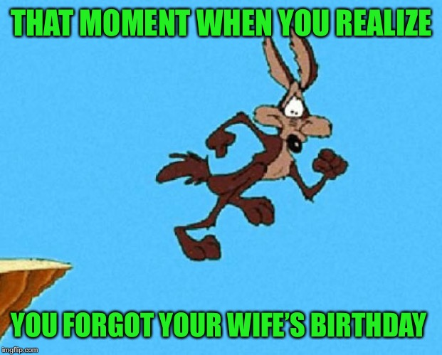 Not me! My wife's birthday is easy to remember. It's Super Bowl week |  THAT MOMENT WHEN YOU REALIZE; YOU FORGOT YOUR WIFE'S BIRTHDAY | image tagged in wile e coyote,oops,friend is in trouble | made w/ Imgflip meme maker