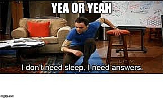 YEA OR YEAH | image tagged in i dont need sleep i need answers | made w/ Imgflip meme maker