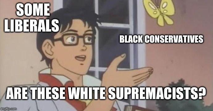 is this a pigeon | SOME LIBERALS BLACK CONSERVATIVES ARE THESE WHITE SUPREMACISTS? | image tagged in is this a pigeon | made w/ Imgflip meme maker