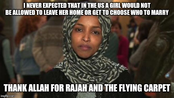 Omar starts stealing other fictional stories to badmouth the US | I NEVER EXPECTED THAT IN THE US A GIRL WOULD NOT BE ALLOWED TO LEAVE HER HOME OR GET TO CHOOSE WHO TO MARRY THANK ALLAH FOR RAJAH AND THE FL | image tagged in ilhan omar | made w/ Imgflip meme maker