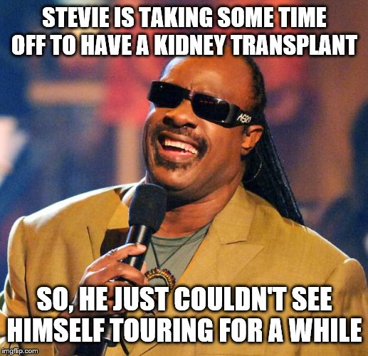 Stevie Wonder Solar Eclipse | STEVIE IS TAKING SOME TIME OFF TO HAVE A KIDNEY TRANSPLANT SO, HE JUST COULDN'T SEE HIMSELF TOURING FOR A WHILE | image tagged in stevie wonder solar eclipse | made w/ Imgflip meme maker