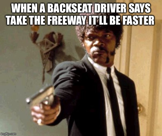 Say That Again I Dare You |  WHEN A BACKSEAT DRIVER SAYS TAKE THE FREEWAY IT'LL BE FASTER | image tagged in memes,say that again i dare you | made w/ Imgflip meme maker