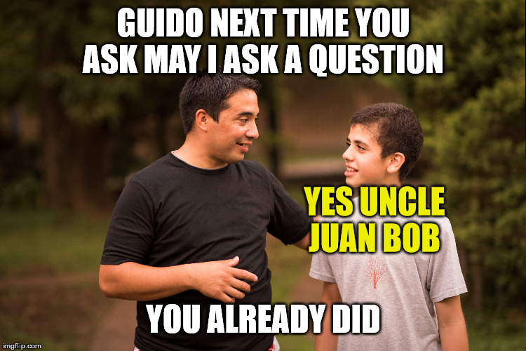 asking a question | GUIDO NEXT TIME YOU ASK MAY I ASK A QUESTION YOU ALREADY DID YES UNCLE JUAN BOB | image tagged in question | made w/ Imgflip meme maker