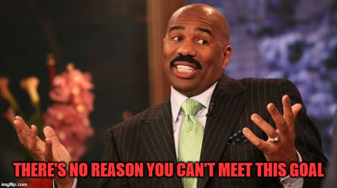 Steve Harvey Meme | THERE'S NO REASON YOU CAN'T MEET THIS GOAL | image tagged in memes,steve harvey | made w/ Imgflip meme maker