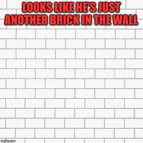 pink floyd | LOOKS LIKE HE'S JUST ANOTHER BRICK IN THE WALL | image tagged in pink floyd | made w/ Imgflip meme maker