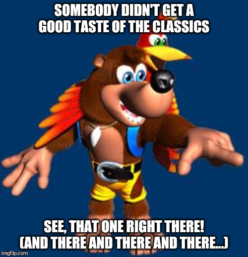 SOMEBODY DIDN'T GET A GOOD TASTE OF THE CLASSICS SEE, THAT ONE RIGHT THERE! (AND THERE AND THERE AND THERE...) | image tagged in banjo-kazooie | made w/ Imgflip meme maker