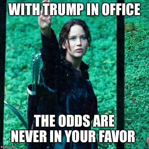 Hunger games | WITH TRUMP IN OFFICE THE ODDS ARE NEVER IN YOUR FAVOR | image tagged in hunger games | made w/ Imgflip meme maker