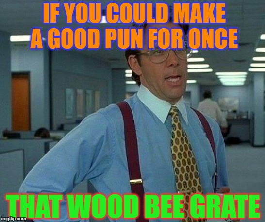 It Wood Bee Vary Grate | IF YOU COULD MAKE A GOOD PUN FOR ONCE THAT WOOD BEE GRATE | image tagged in memes,that would be great | made w/ Imgflip meme maker