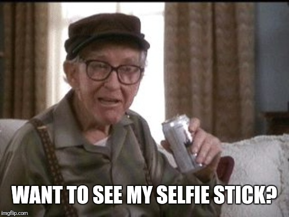 GRUMPY OLD MEN |  WANT TO SEE MY SELFIE STICK? | image tagged in grumpy old men | made w/ Imgflip meme maker