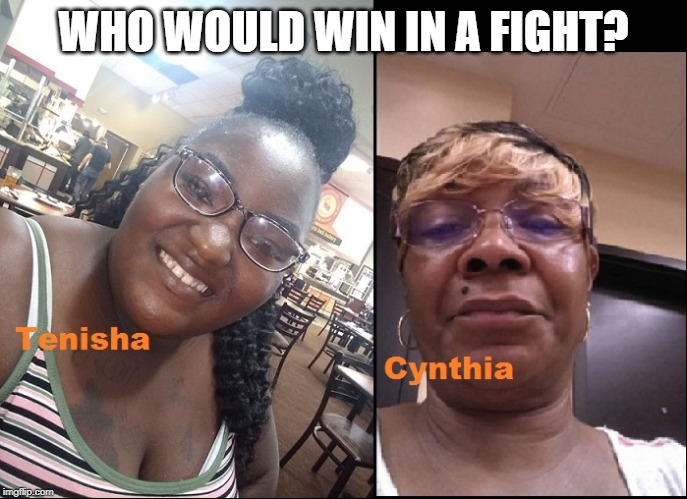 Cynthia vs Tenisha | WHO WOULD WIN IN A FIGHT? | image tagged in tenisha vs cynthia | made w/ Imgflip meme maker