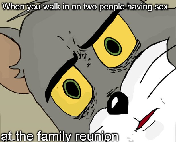 Unsettled Tom Meme | When you walk in on two people having sex at the family reunion | image tagged in memes,unsettled tom | made w/ Imgflip meme maker