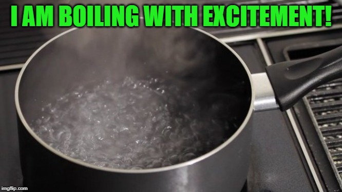 Boiling water | I AM BOILING WITH EXCITEMENT! | image tagged in boiling water | made w/ Imgflip meme maker