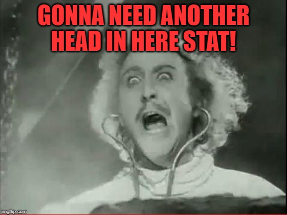 Young Frankenstein | GONNA NEED ANOTHER HEAD IN HERE STAT! | image tagged in young frankenstein | made w/ Imgflip meme maker