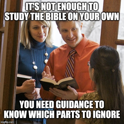Jehovah's Witnesses | IT'S NOT ENOUGH TO STUDY THE BIBLE ON YOUR OWN YOU NEED GUIDANCE TO KNOW WHICH PARTS TO IGNORE | image tagged in door to door,jehovah's witness | made w/ Imgflip meme maker