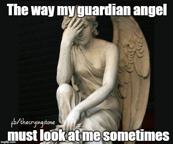 The way my guardian angel; must look at me sometimes | image tagged in guardian angel | made w/ Imgflip meme maker